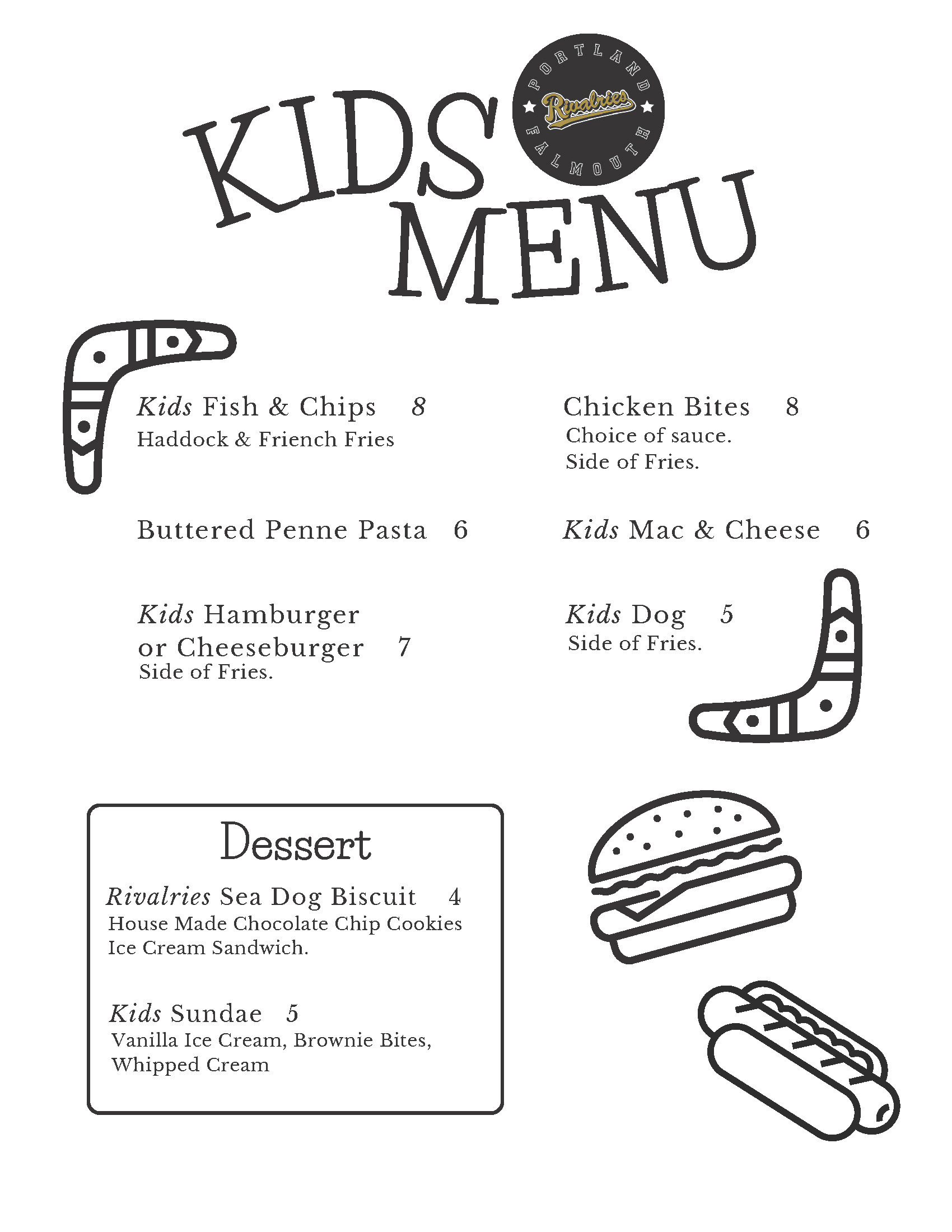 Rivalries Falmouth Kids Menu